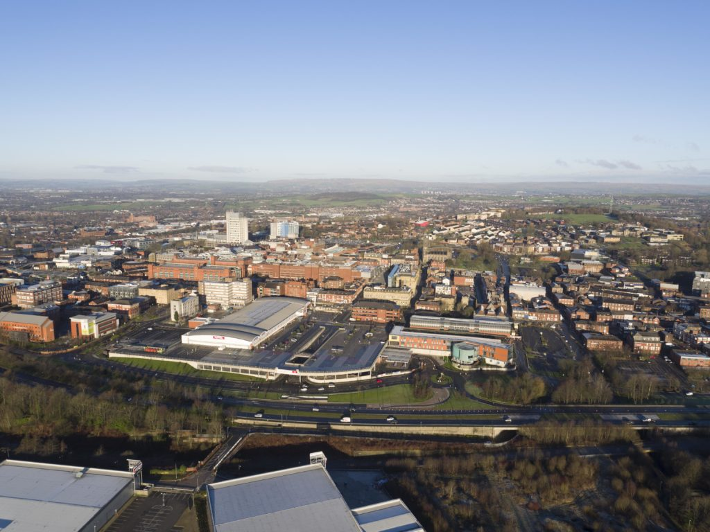 An aerial image of the Oldham town centre area